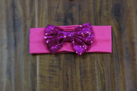 Hot Pink Sequin Bow Head Wrap