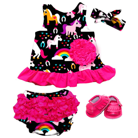 Pink Rainbow Unicorn Ruffle Two Piece Dress