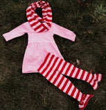 Pink Red Stripe Infinity Scarf Set