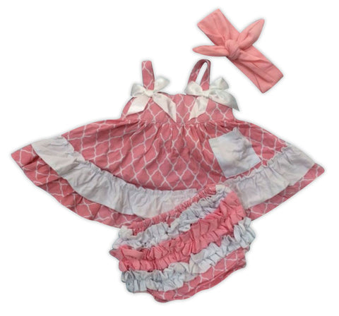 Pink Moroccan Ruffle Two Piece Dress