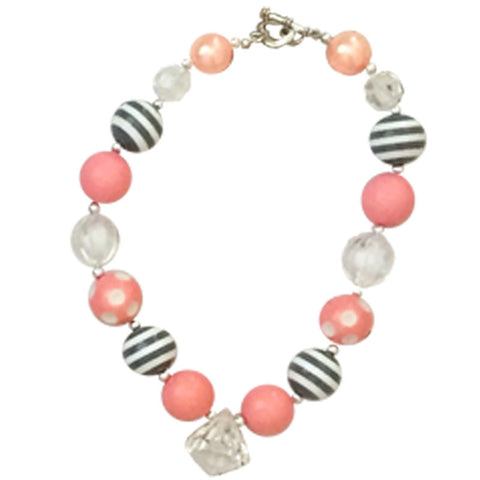 Pink Salmon Polka White Diamond Necklace