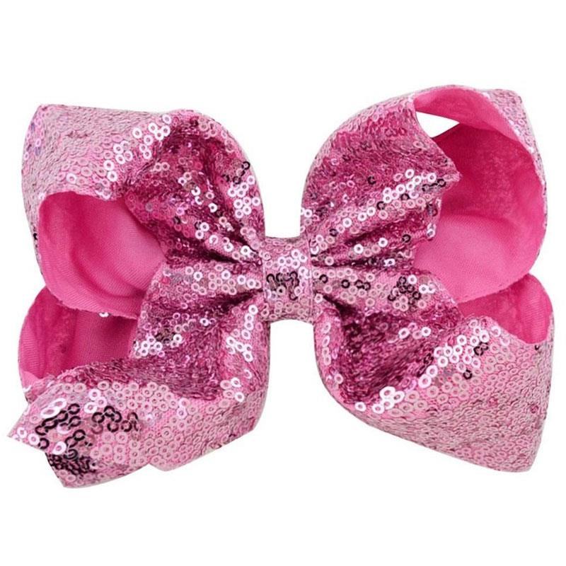 Pink Sequin Hair Bow 8 Inch