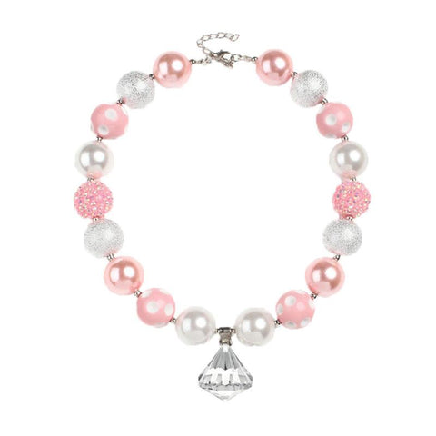 Pink Silver Cream Pearl Necklace Chunky Gumball