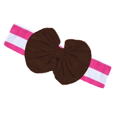 Pink Stripe Fall Girls Headband Brown Messy Bow