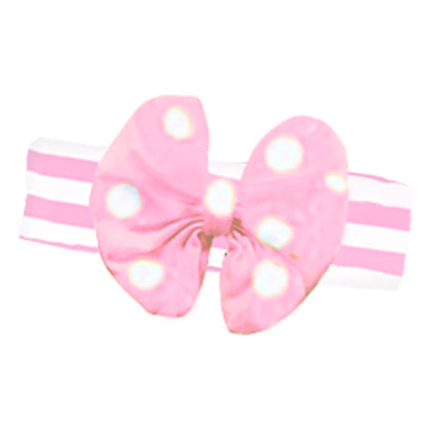 Pink Stripe Girls Headband Polka Dot Pink Messy Bow