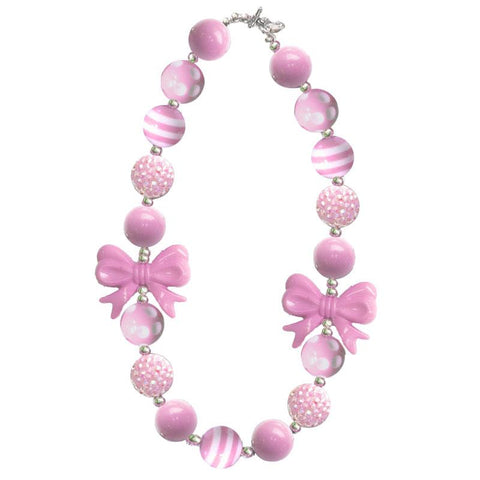 Pink Stripe Necklace Bow Gumball Chunky