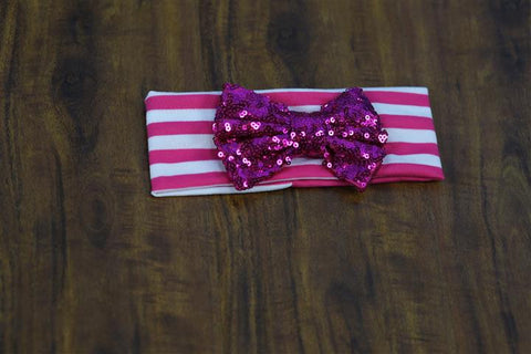 Hot Pink Stripe Sequin Bow Head Wrap