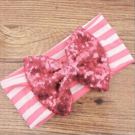 Pink Stripe Sequin Bow Head Wrap
