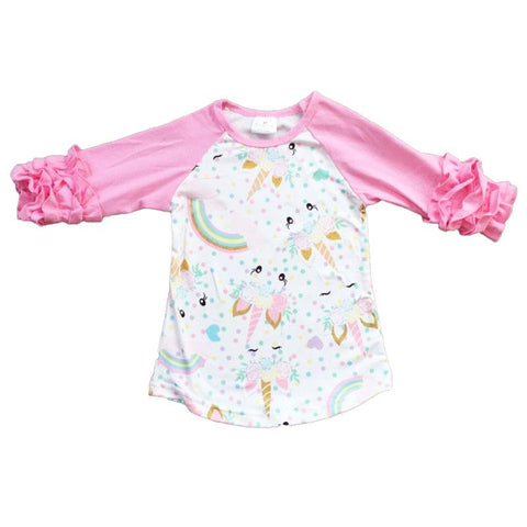 Pink Unicorn Shirt Rainbow Ruffle