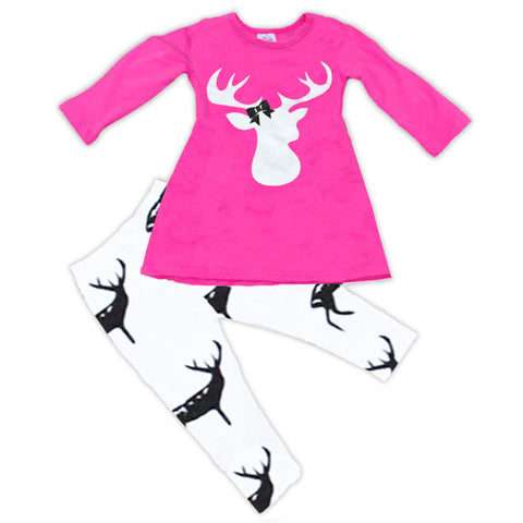 Pink White Bow Deer Shirt And Pants