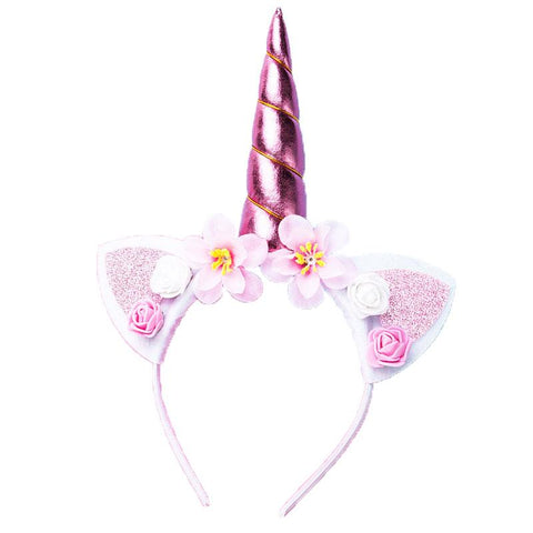 Pink White Flower Unicorn Headband