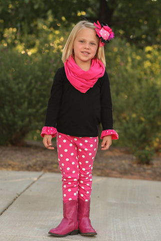 Pink White Polka Black Pant Set