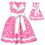 Pink White Polka Bow Dress