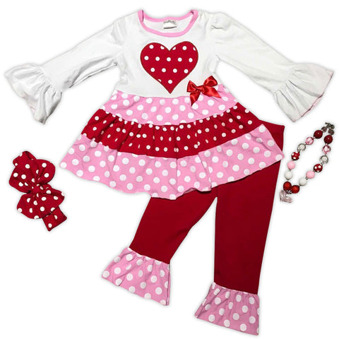 Pink White Red Tier Polka Heart Top And Pants