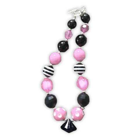 Pink White Stripe Black Diamond Necklace