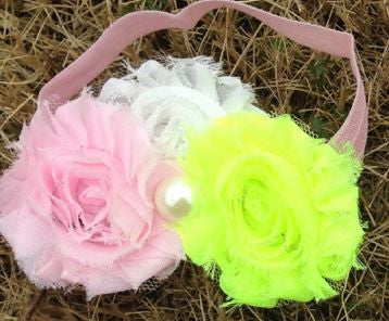 Pink - Yellow - White Shabby Headband