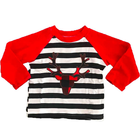 Plaid Antler Shirt Black Stripe Red Raglan