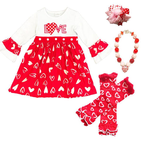 Plaid Love Heart Outfit Polka Dot Dress
