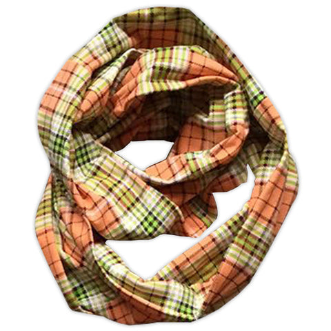 Plaid Orange Green Scarf