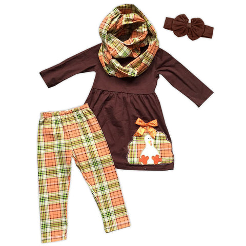 Plaid Turkey Brown Top Pant Set