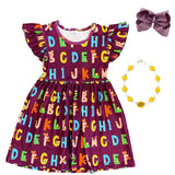Plum Animal Alphabet Dress Ruffle