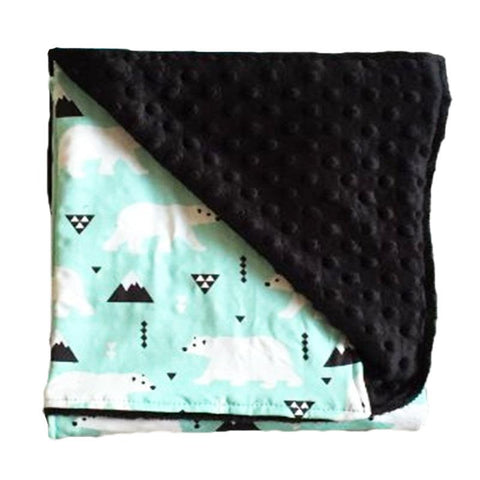 Polar Bear Mint Black Minky Blanket