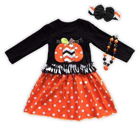 Polka Chevron Pumpkin Ruffle Dress