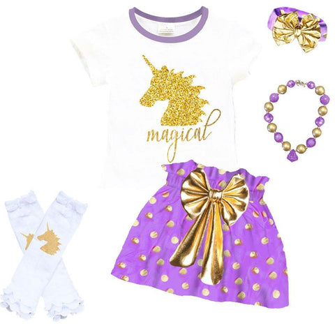 Polka Dot Gold Magical Unicorn Outfit Purple Top And Skirt