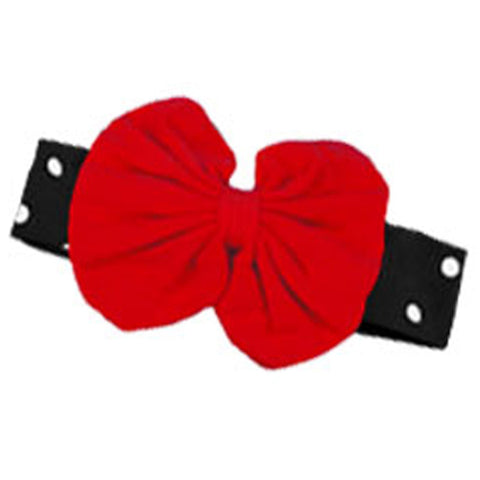 Polka Dot Headband Black Red Messy Bow