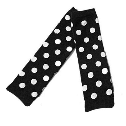 Polka Dot Leg Warmers Black White