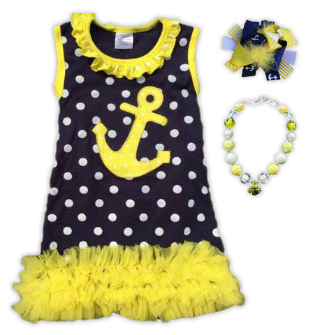 Polka Navy Yellow Anchor Ruffle Dress