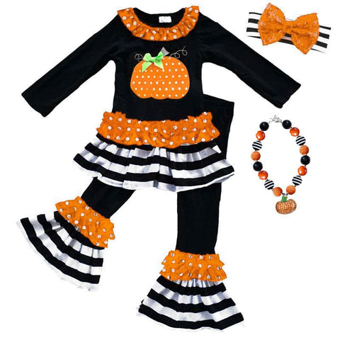 Polka Pumpkin Outfit Stripe Ruffle Top And Pants