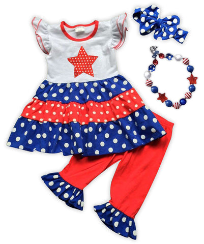 Polka Star Ruffle Tier Capri Set