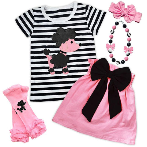 Poodle Outfit Black Stripe Pink Top And Skirt