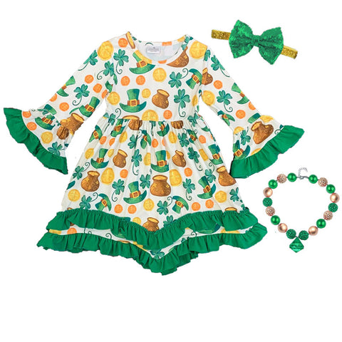 Pot Of Gold Dress Green Ruffle Clover