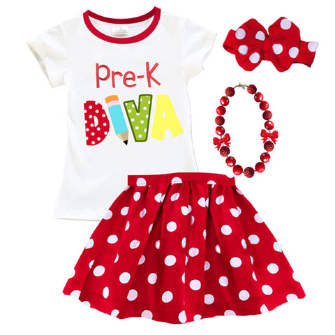 Pre K Diva Red Polka Top And Skirt