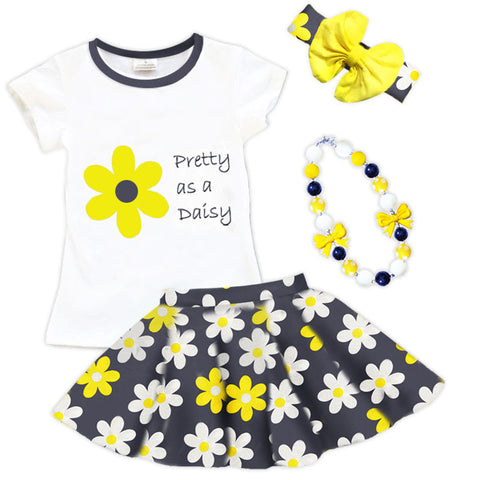 Pretty As A Daisy Navy Yellow Shirt And Skirt