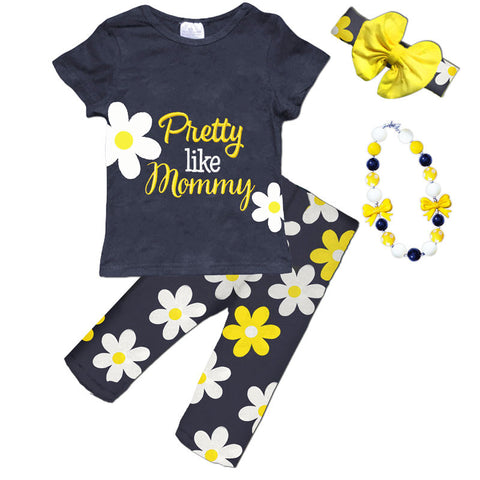 Pretty Like Mommy Navy Daisy Top And Capri