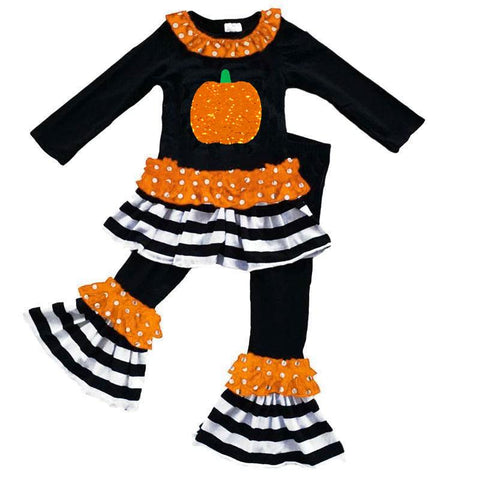Pumpkin Flip Sequin Outfit Black Stripe Ruffle Top And Pants