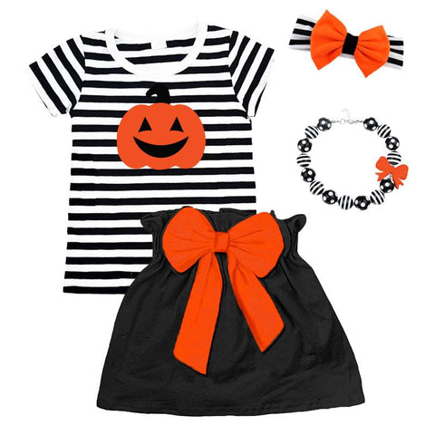 Pumpkin Outfit Black Stripe Orange Bow Top And Skirt