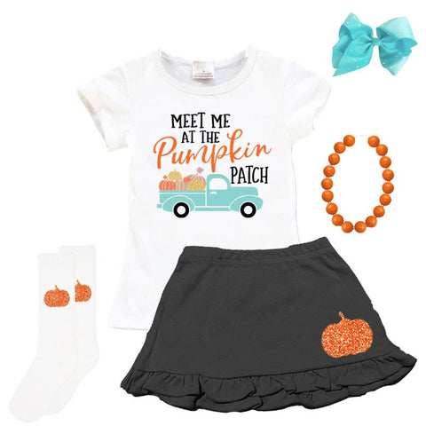 Pumpkin Patch Truck Outfit Black Top And Skirt
