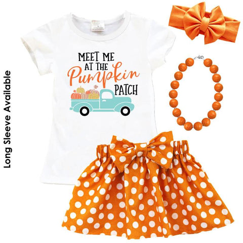 Pumpkin Patch Truck Outfit Orange Polka Dot Top And Skirt