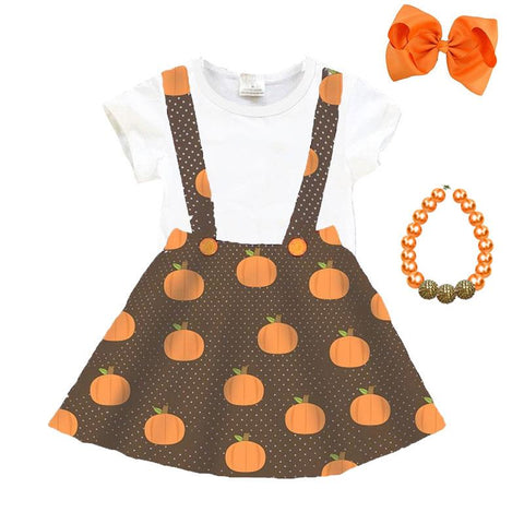 Pumpkin Polka Dot Outfit Brown White Top And Skirt