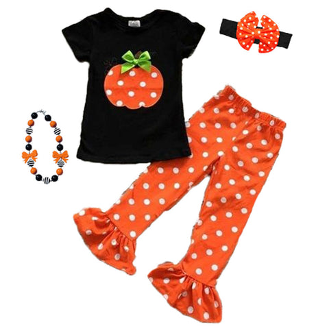 Pumpkin Polka Dot Outfit Orange Black Top And Pants