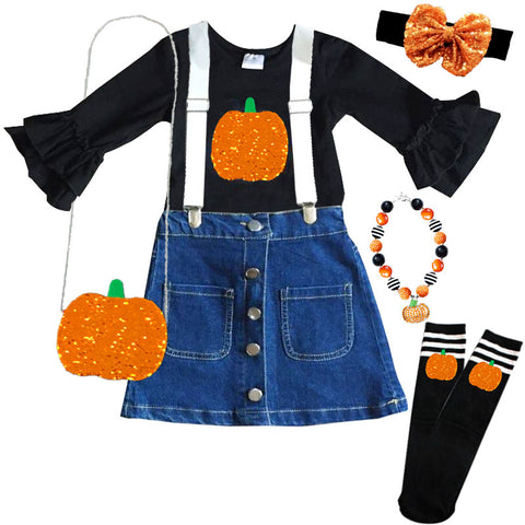 Pumpkin Sequin Suspender Outfit Denim Top And Skirt