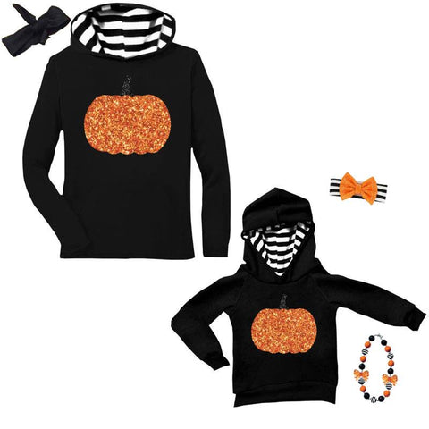 Pumpkin Stripe Hoodie Mommy And Me