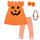 Pumpkin Stripe Outfit Polka Dot Top And Pants