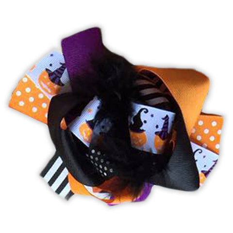 Pumpkin Stripe Polka Hair Bow