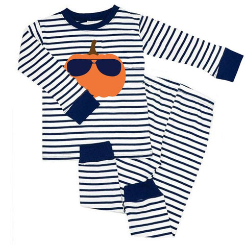Pumpkin Sunglasses Pajamas Navy Stripe
