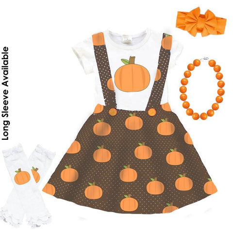 Pumpkin Thanksgiving Outfit Brown Polka Dot Top And Jumper